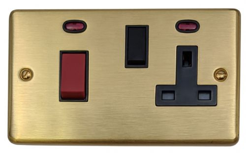 G&H CSB29B Standard Plate Satin Brushed Brass 45 Amp DP Cooker Switch & 13A Switched Socket